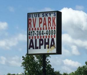 Blue skys park sign